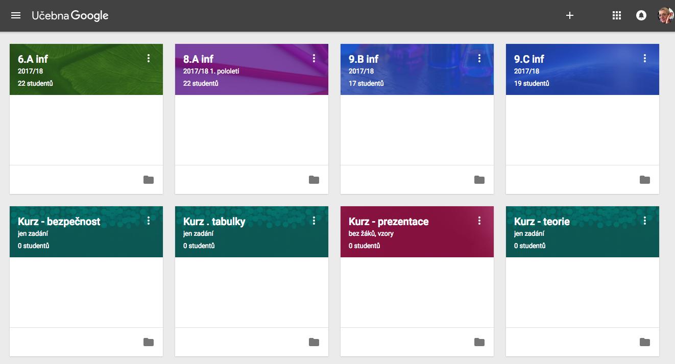 Moje Google Classroom v letošním provedení